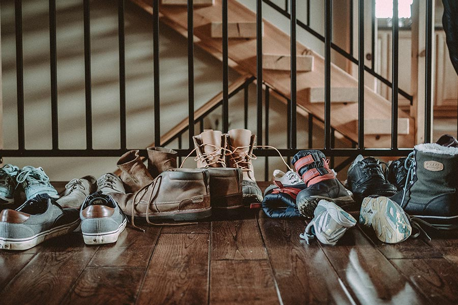 Family Shoes under stairs